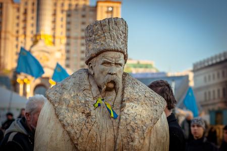 Kiev. Ukraine. March 10, 2014. Wooden sculpture of Shevchenko in the EuroMaidan.