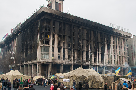 Kiev Ukraine. February 23, 2014. The central street of the city after the storming of the barricades during the EuroMaidan Redakční