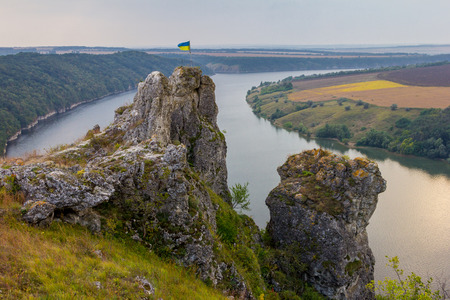 Scenic panorama view from the hill to the reservoir on the Dniester river, Ukraine