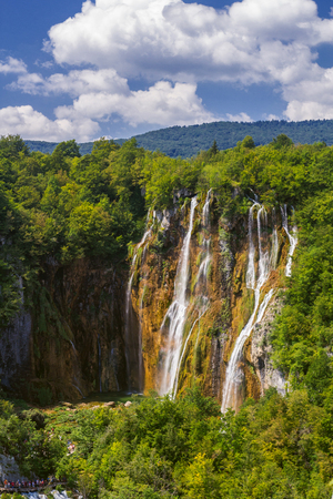 Beautiful waterfall in Plitvice Lakes National Park. Croatia.
