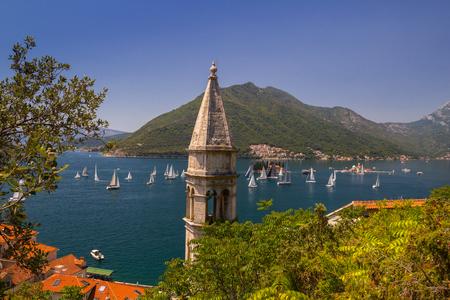 Sunny Mediterranean landscape. Montenegro, Bay of Kotor.
