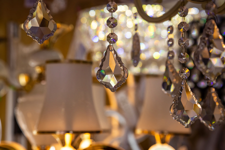Background of the crystals in the store of light bulbs and lamps