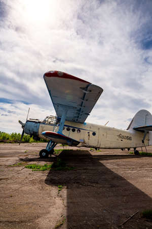 Abandoned planes old an-2 in the open air.
