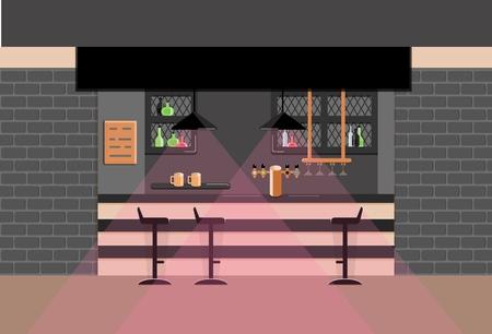Bar counter in pub. Vector flat illustration. Dark tone. Eps 10.