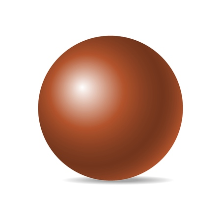 Orange realistic three-dimensional sphere isolated on white background. Vector illustration. Eps 10.