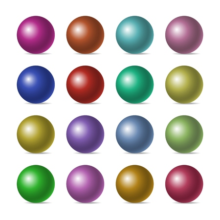 Set of color realistic three-dimensional spheres isolated on white background. Vector illustration. Eps 10.
