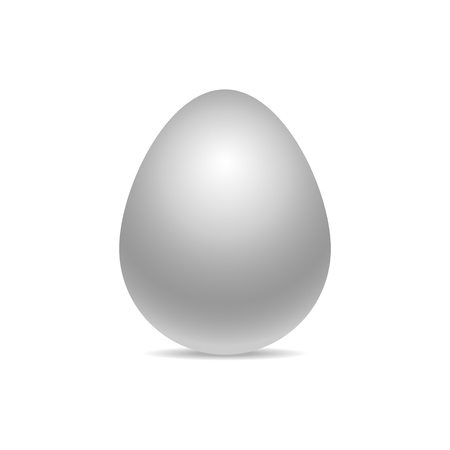 Vector single white realistic chiken egg isolated on white background with soft shadow. Perfect Easter holiday template.Three-dimensional illustration. Eps 10.