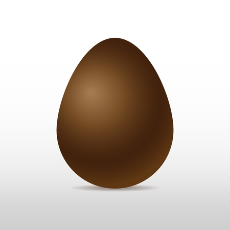 Vector brown sweet chocolate egg on white background with soft shadow. Three-dimensional illustration. Eps 10. Standard-Bild - 122364075