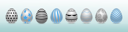 Vector row of realistic chiken eggs isolated on blue background with soft shadow. Perfect Easter holiday template. Decorated in different colors and pattern. Three-dimensional illustration. Eps 10. Standard-Bild - 122364078