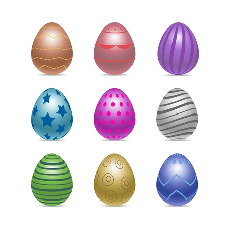 Vector set of decorated realistic chiken eggs isolated on white background with different patterns. Perfect Easter holiday template.Three-dimensional illustration. Eps 10.