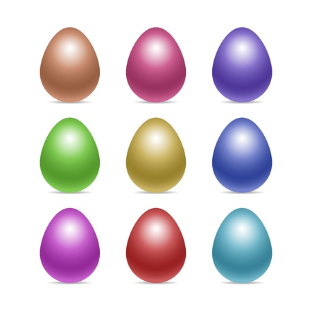 Vector set of decorated realistic chiken eggs isolated on white background with soft shadows. Perfect Easter holiday template.Three-dimensional illustration. Eps 10. Standard-Bild - 122364082