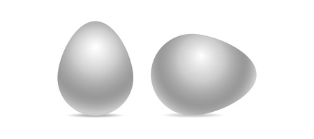 Vector white realistic chiken eggs isolated on white background with soft shadow. Perfect Easter holiday template.Three-dimensional illustration. Eps 10.