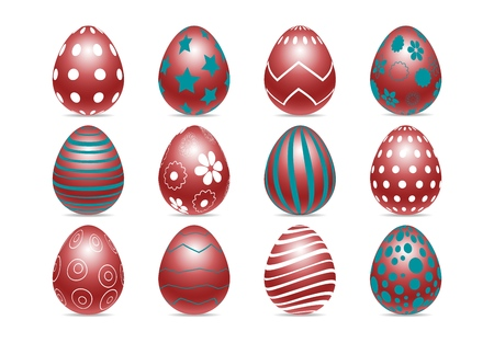Vector set of decorated realistic chiken eggs isolated on white background with different patterns. Perfect Easter holiday template.Three-dimensional illustration. Eps 10. Standard-Bild - 122364085