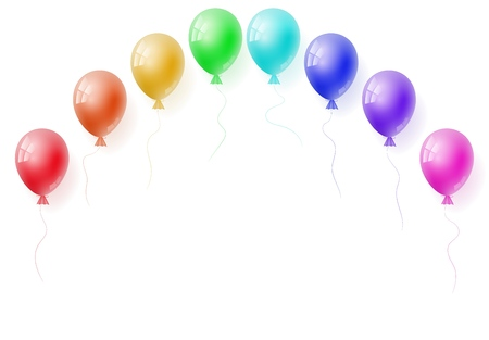 Vector realistic helium colorfull rainbow balloons. Perfect for ad, sale, flyer, greeting card, invitation, poster, offer, poster. Free space for the text. Three-dimensional illustration. Eps 10.