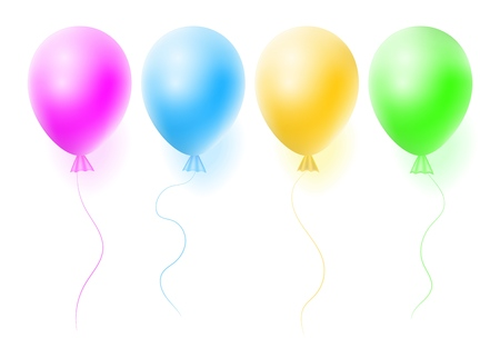 Vector set of realistic helium balloon on white background. Concept for promotion, ad, sale, flyer. Three-dimensional illustration. Eps 10.