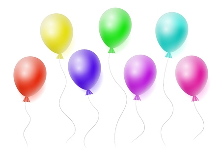 Vector set of realistic helium colorfull balloons on white background. Concept for promotion, ad, sale, flyer. Three-dimensional illustration. Eps 10.