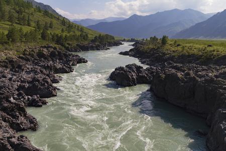 Katun river stream in Altai mointain.