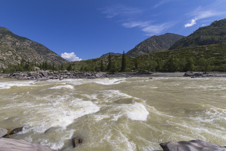 Rapid current of the Chuya River in Mountains Altai. Summer time. Rocky coast.