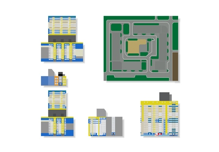 Flat vector illustration high rise houses for 3d model, made from paper. Plan for residential quarter in city.