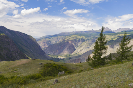 Valley of the river, top view. Altay mountains. Summer sunny day. Фото со стока