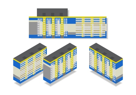 Vector isometric high rise building in urban city. Different sides of house and flat illustration on white background.