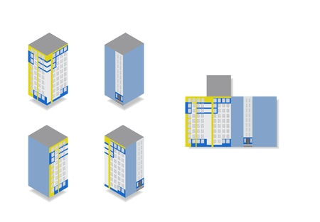 Vector isometric high rise building in urban city. Four sides of house and flat illustration on white background.