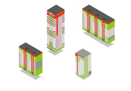Vector isometric high rise buildings in urban city. Set of different houses isolated on white background.