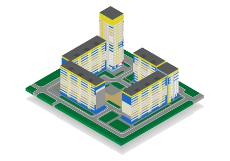 Vector isometric high rise building in urban city. Housing estate isolated on white background. Construction concept.