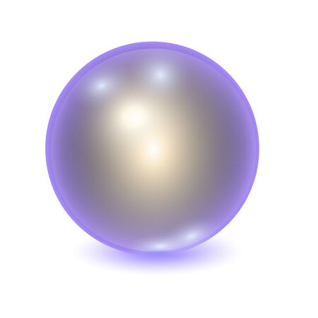 Vector realistic violet metall ball with silver outflow or shine sphere with patches of light on white background. 3D illustration.