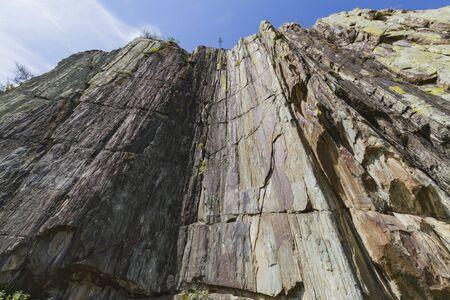 Mountain rock. Bottom view. Altai. Close up. Imagens