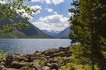 Multinsky lakes in Altai mountains. Picturesque landscape with pine and stones on the shore. Stok Fotoğraf