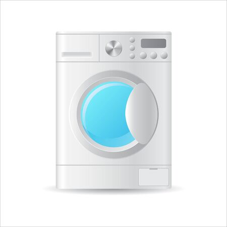 Vector realistic automatic washing-machine with front-loading clothes isolated on white background. 3D illustration.