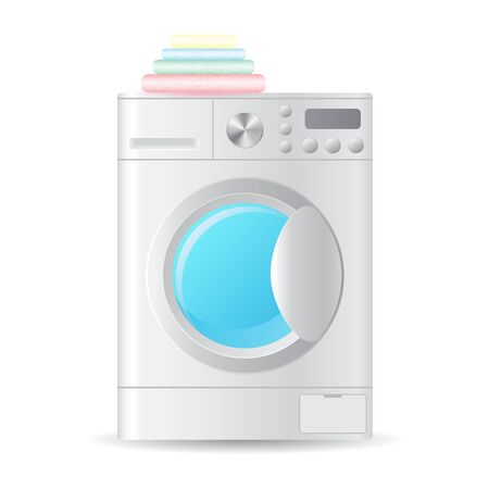 Vector realistic automatic front-loading washing-machine with pile of colorful towels isolated on white background. 3D illustration.