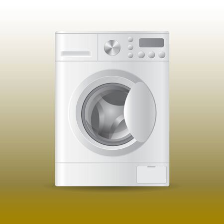 Vector realistic automatic washing-machine with front-loading clothes isolated on white backgroung. 3D illustration.