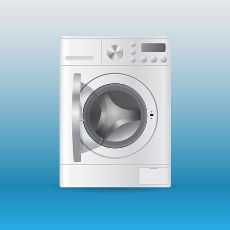 Vector realistic automatic white empty washing-machine with front-loading clothes with open door isolated on blue background. 3D illustration.