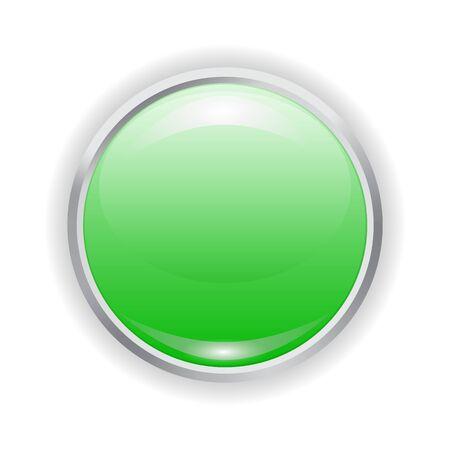 Vector realistic green plastic button with patch of light and metal frame isolated on white background. 3D illustration.