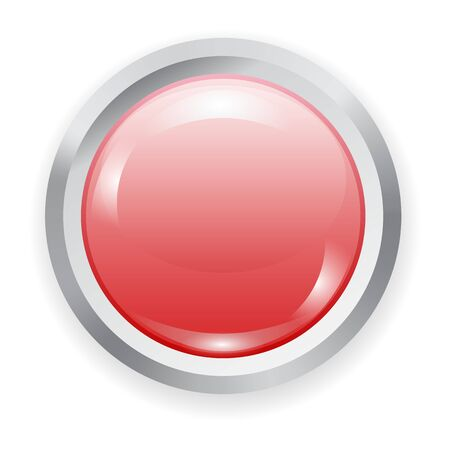 Vector realistic red plastic button with metal elements and patch of light isolated on white background. 3D illustration.