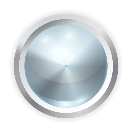 Vector realistic blue glass button with metal frame and reflection of light isolated on white background. 3D illustration. 일러스트