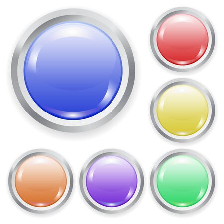 Set of vector realistic color plastic button with patch of light and metal frame isolated on white background. 3D illustration.
