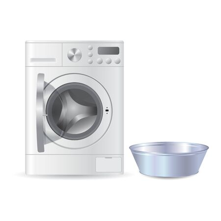 Vector realistic automatic open washing machine with front loading and metal blue empty basil for handwash isolated on white background. Laundry concept. 3D illustration.