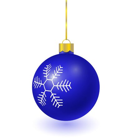 Vector blue christmas tree ball with snowflake pattern isolated on white background. 3D illustration.