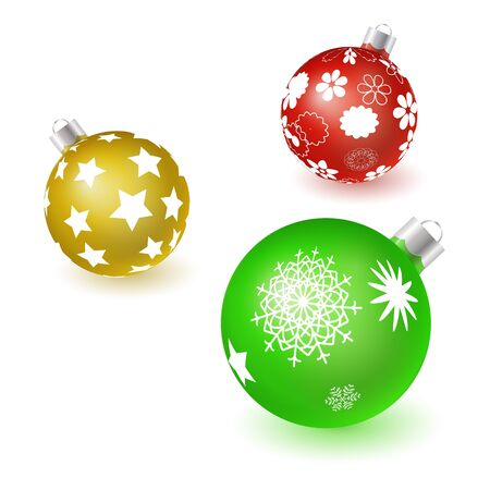 Set of vector colorful christmas tree balls with snowflake patterns isolated on white background. 3D illustration. Ilustrace