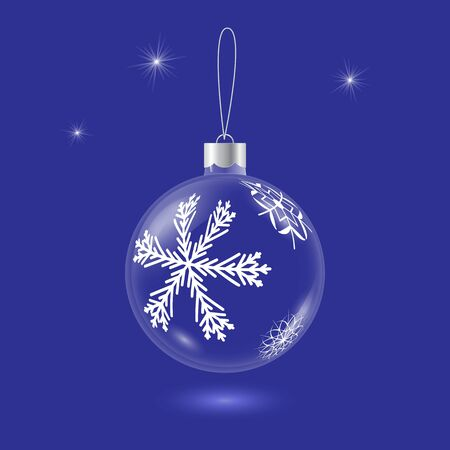 Vector transparent glass christmas tree ball with snowflake pattern on blue background. 3D illustration. Ilustrace
