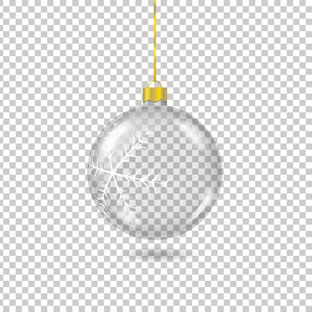 Vector transparent christmas tree ball with with gold eyelet isolated on checkered background. 3D illustration. Ilustrace