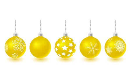set of vector gold glass christmas tree balls hanging on yellow eyelets. 3D illustration.