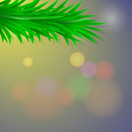 Vector Christmas card with green Branch spruce on blurred color background. Realistic illustration with copy space. Ready template for new year.