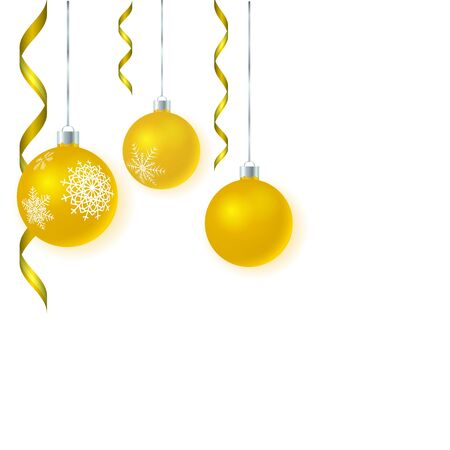 Vector template for christmas card with gold glass tree balls and tinsel. White background. 3D illustration.