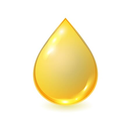Vector golden oil drop isolated on white background. Realistic illustration. Template for petrochemical or olive advertising. Фото со стока - 140514081