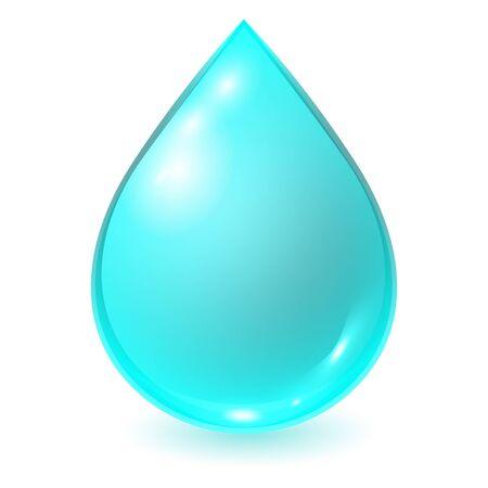 Vector blue water drop isolated on white background. Realistic illustration. Ilustracje wektorowe