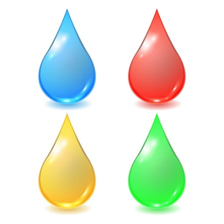 Vector set of different drops - red blood, blue water, yellow honey or oil and green organic droplet. Realistic illustration. Ready icon color paint.